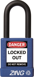 "ZING RecycLock Safety Padlock, Keyed Different, 1-1/2"" Shackle, 1-3/4"" Body, Blue"