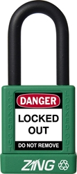 "ZING RecycLock Safety Padlock, Keyed Different, 1-1/2"" Shackle, 1-3/4"" Body, Green"
