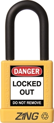 "ZING RecycLock Safety Padlock, Keyed Alike, 1-1/2"" Shackle, 1-3/4"" Body, Yellow"