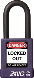 "ZING RecycLock Safety Padlock, Keyed Different, 1-1/2"" Shackle, 1-3/4"" Body, Purple"