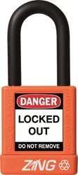 "ZING RecycLock Safety Padlock, Keyed Different, 1-1/2"" Shackle, 1-3/4"" Body, Orange"