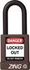 "ZING RecycLock Safety Padlock, Keyed Alike, 1-1/2"" Shackle, 1-3/4"" Body, Brown"