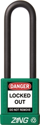 "ZING RecycLock Safety Padlock, Keyed Alike, 3"" Shackle, 1-3/4"" Body, Green"