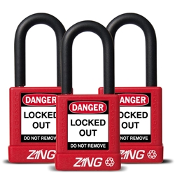 "ZING RecycLock Safety Padlock, Keyed Alike,1-1/2"" Shackle, 1-3/4"" Body, Red, 3 Pack"