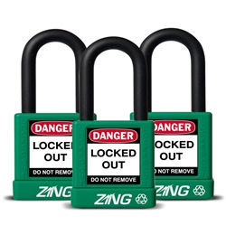 "ZING RecycLock Safety Padlock, Keyed Alike,1-1/2"" Shackle, 1-3/4"" Body, Green, 3 Pack"
