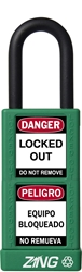 "ZING RecycLock Safety Padlock, Keyed Alike, 1-1/2"" Shackle, 3"" Long Body, Green"