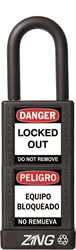 "ZING RecycLock Safety Padlock, Keyed Alike, 1-1/2"" Shackle, 3"" Long Body, Black"