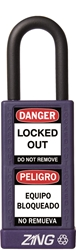 "ZING RecycLock Safety Padlock, Keyed Different, 1-1/2"" Shackle, 3"" Long Body, Purple"