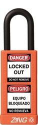 "ZING RecycLock Safety Padlock, Keyed Different, 1-1/2"" Shackle, 3"" Long Body, Orange"