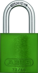 "ZING Aluminum Safety Padlock, Keyed Different, 1.5"" Shackle, 1-9/16"" Body, Green"