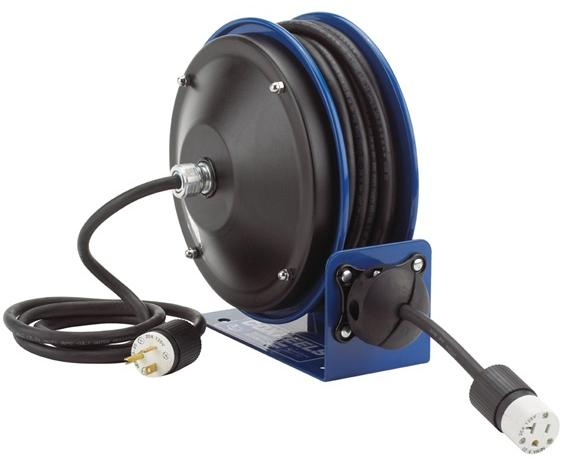 COMPACT POWER CORD REELS- Includes Accessory Fluorescent Tube Light, 16 ga. AWG, 0.3 Amps