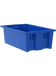 "NEST AND STACK TOTES-Blue, 18 x 11 x 6"", Cap. Cu. Ft. 0.5"