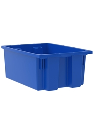 "NEST AND STACK TOTES-Blue, 19-1/2 x 13-1/2 x 8"", Cap. Cu. Ft. 0.8"
