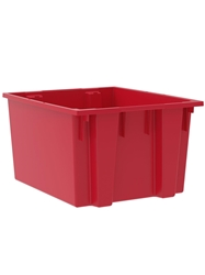 "NEST AND STACK TOTES-Red, 23-1/2 x 19-1/2 x 13"", Cap. Cu. Ft. 2.6"