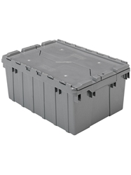 "ATTACHED LID CONTAINERS-Gray, 21-1/2 x 15 x 9"", Cap. Cu. Ft. 1.1, Cap. Gal. 8.5"