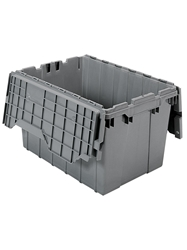 "ATTACHED LID CONTAINERS-Gray, 21-1/2 x 15 x 12-1/2"", Cap. Cu. Ft. 1.6, Cap. Gal. 12"