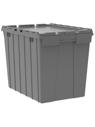 "ATTACHED LID CONTAINERS-Gray, 21-1/2 x 15 x 17"", Cap. Cu. Ft. 2.3, Cap. Gal. 17"