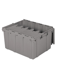 "ATTACHED LID CONTAINERS-Gray, 24 x 19-1/2 x 12-1/2"", Cap. Cu. Ft. 2.3, Cap. Gal. 17.2"