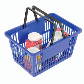 "STANDARD-BL Plastic Shopping Basket with Plastic Handle, 17""x12""x9"", Blue"