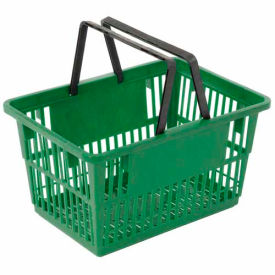 "STANDARD-GN Plastic Shopping Basket with Plastic Handle, Standard, 17""L X 12""W X 9""H, Green, Good L Corp. ;"