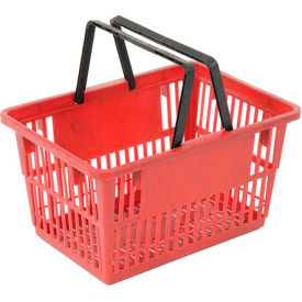 "STANDARD-RD Plastic Shopping Basket with Plastic Handle, Standard, 17""L X 12""W X 9""H, Red, Good L Corp. ;"