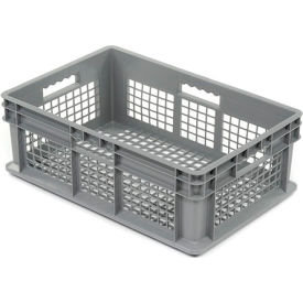 "37608GREY Akro-Mils Straight Wall Container 37608 Mesh Sides & Base 23-3/4""L x 15-3/4""W x 8-1/4""H, Gray"