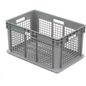 "37612GREY Akro-Mils Straight Wall Container 37612 Mesh Sides & Base 23-3/4""L x 15-3/4""W x 12-1/4""H, Gray"