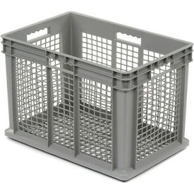 "37616GREY Akro-Mils Straight Wall Container 37616 Mesh Sides & Base 23-3/4""L x 15-3/4""W x 16-1/8""H, Gray"