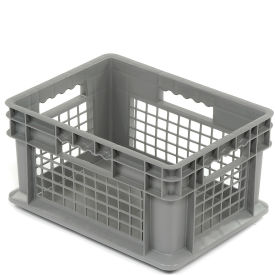 "37278GREY Akro-Mils Straight Wall Container 37278 Mesh Sides Solid Base 15-3/4""L x 11-3/4""W x 8-1/4""H, Gray"