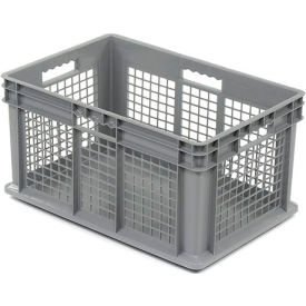"37672GREY Akro-Mils Straight Wall Container 37672 Mesh Sides Solid Base 23-3/4""L x 15-3/4""W x 12-1/4""H, Gray"