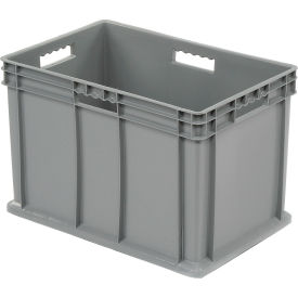 "37686GREY Akro-Mils Straight Wall Container 37866 Solid Sides & Base 23-3/4""L x 15-3/4""W x 16-1/8""H, Gray"