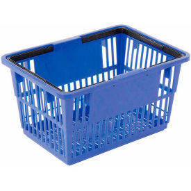"LARGE-ROYAL Plastic Shopping Basket with Plastic Handle, Large, 19-3/8""L X 13-1/4""W X 10""H, Blue, Good L ;"