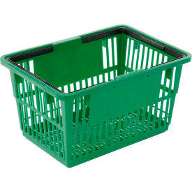 "LARGE-GREEN Plastic Shopping Basket with Plastic Handle, Large, 19-3/8""L X 13-1/4""W X 10""H, Green, Good L ;"