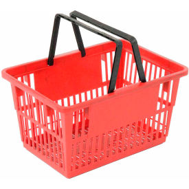 "LARGE-RED Plastic Shopping Basket with Plastic Handle, Large, 19-3/8""L X 13-1/4""W X 10""H, Red, Good L ;"