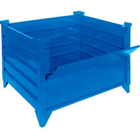 "topper stackable steel container 51006bdg solid, drop gate, 35""l x 35""w x 24""h, blue Global Industrial™ Stackable Steel Container 51006BDG Solid, Drop Gate, 35""L x 35""W x 24""H, Blue"