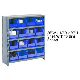 603260BL Steel Closed Shelving with 30 Blue Plastic Stacking Bins 6 Shelves - 36x12x39