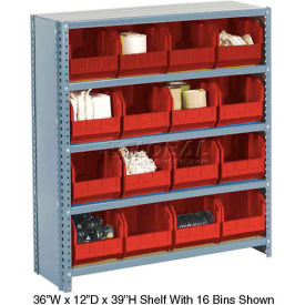 603258RD Steel Closed Shelving with 21 Red Plastic Stacking Bins 6 Shelves - 36x12x39