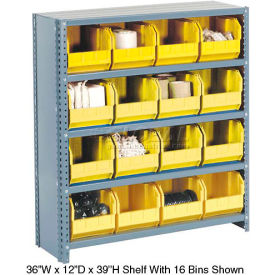603262YL Steel Closed Shelving with 16 Yellow Plastic Stacking Bins 5 Shelves - 36x18x39