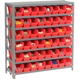"603430RD Steel Shelving with 48 4""H Plastic Shelf Bins Red, 36x12x39-7 Shelves"