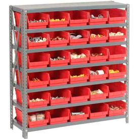 "603435RD Steel Shelving with 30 4""H Plastic Shelf Bins Red, 36x18x39-7 Shelves"