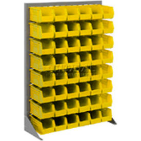 "603387YL Singled Sided Louvered Bin Rack 35""W x 15""D x 50""H with 42 of Yellow Premium Stacking Bins"