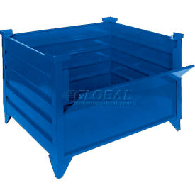 "topper stackable steel container 51010bdg solid, drop gate, 48""l x 42""w x 24""h, blue"