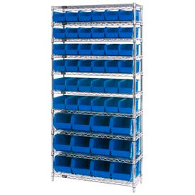 268925BL Chrome Wire Shelving With 48 Giant Plastic Stacking Bins Blue, 36x14x74