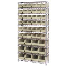268925BG Chrome Wire Shelving With 48 Giant Plastic Stacking Bins Ivory, 36x14x74
