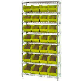 268926YL Chrome Wire Shelving With 28 Giant Plastic Stacking Bins Yellow, 36x14x74