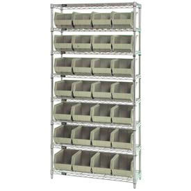 268926BG Chrome Wire Shelving With 28 Giant Plastic Stacking Bins Ivory, 36x14x74