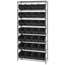 268926BK Chrome Wire Shelving With 28 Giant Plastic Stacking Bins Black, 36x14x74