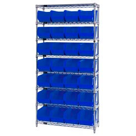 268928BL Chrome Wire Shelving With 28 Giant Plastic Stacking Bins Blue, 36x14x74