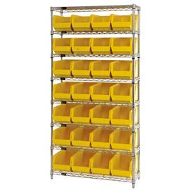 268928YL Chrome Wire Shelving With 28 Giant Plastic Stacking Bins Yellow, 36x14x74