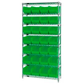 268928GN Chrome Wire Shelving With 28 Giant Plastic Stacking Bins Green, 36x14x74